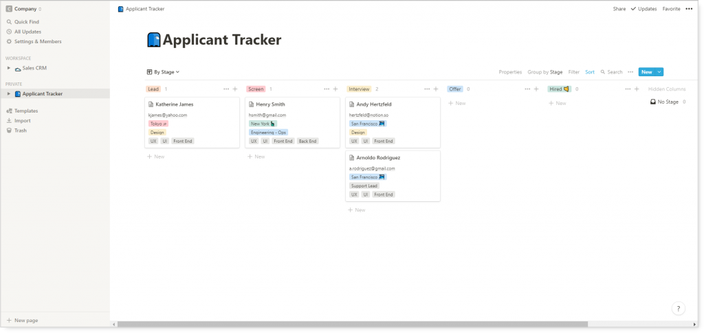 notion applicant tracker